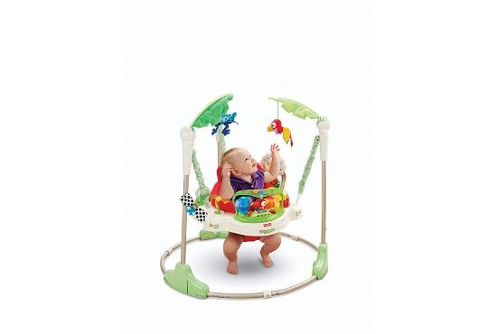 Fisher Price Rainforest Jumperoo with a baby inside