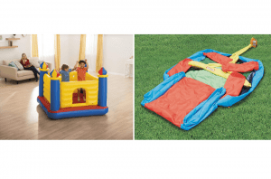Two bounce houses indoors and outdoors