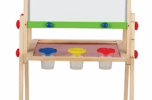 Art supply storage from Hape for an easel