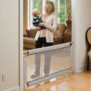Best retractable baby gates - woman with toddler