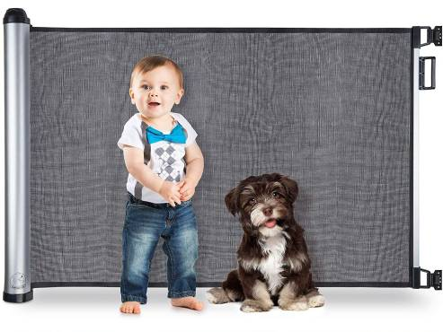 Best retractable baby gates - baby and dog next to baby gate