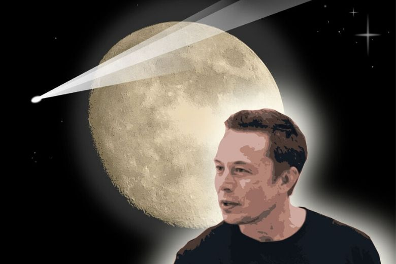 Elon Musk with moon behind him