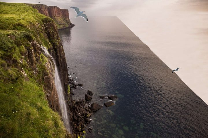 A waterfall falling to the edge of nothing