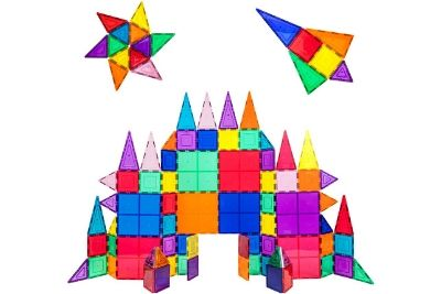 Colorful castle, star, and jet made from tiles