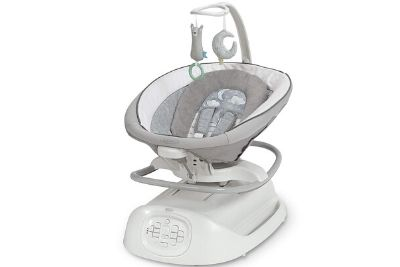 Grey and white baby soothing swing