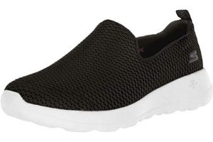 Black and white walking shoes for women