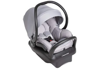 Grey car seat with canopy