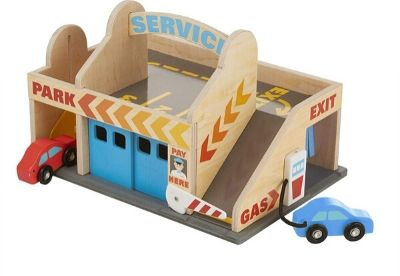 Wooden garage for kids with two cars