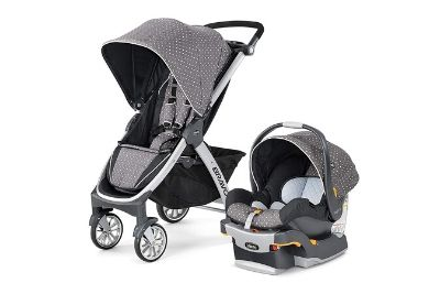 Black and grey stroller with w hite dots
