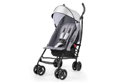 Grey stroller with white canopy