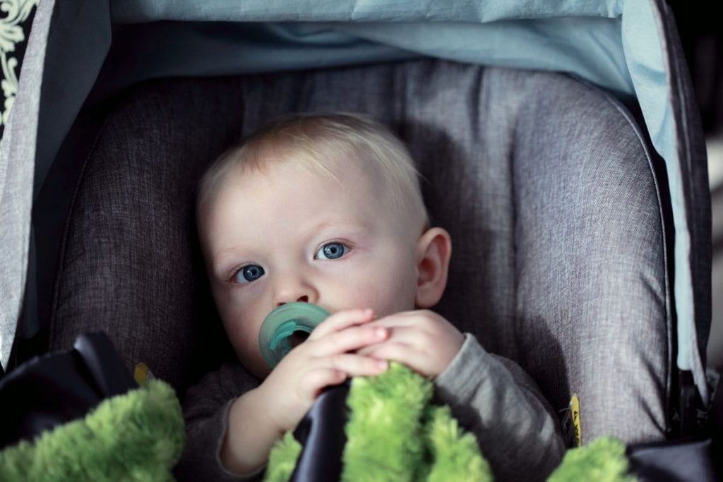 Infant sited in a car seat