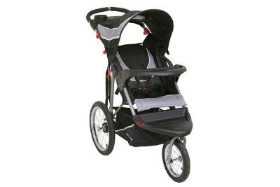 Black three wheel baby stroller