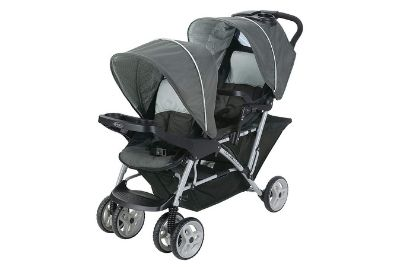 Black and grey two kid stroller