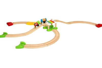 Wooden train set for kids with a bridge