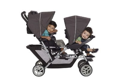 Two kids sited on a stroller