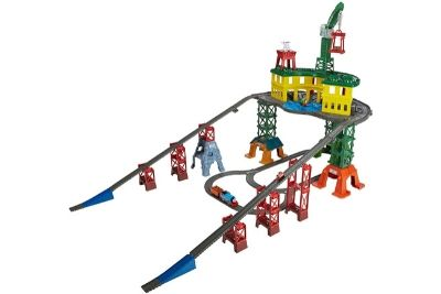 Colorful train set with a station