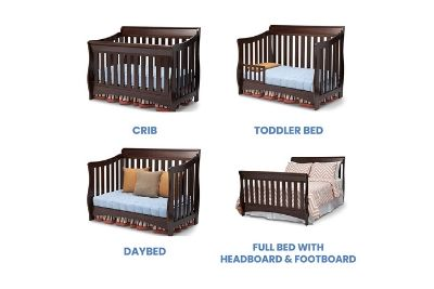 Crib converted from crib to full size bed