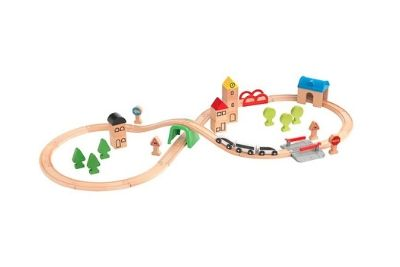 Train set with trees and buildings