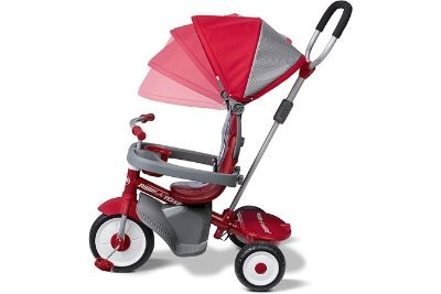 Red and grey tricycle with a canopy