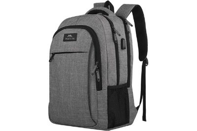 Black and grey travel backpack
