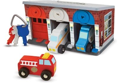 Toy garage with three cars and set of keys