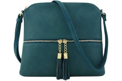 Peacock crossbody bag with cure front zip