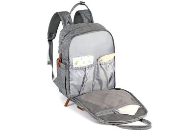 Open diaper bag with compartments