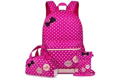 Pink bags with polka dots and black bow