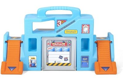 blue and orange toy garage with grey door