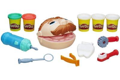 Play-Doh, doctor set toys, and a man's mouth toy