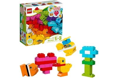 Building blocks in a box with animal made on blocks