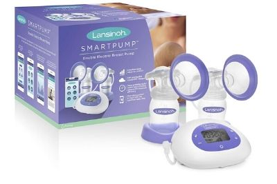 Purple and white breast pump with bottles