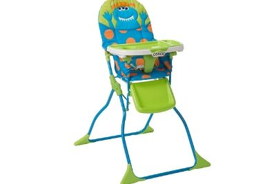 Green and Blue highchair with orange dots