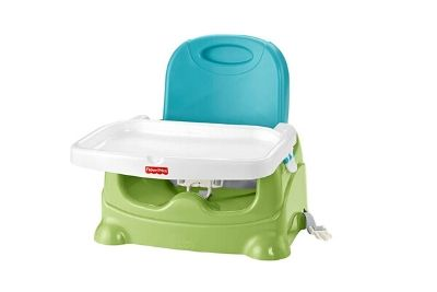Green blue, and white booster seat