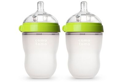 Clear baby bottles with the green top