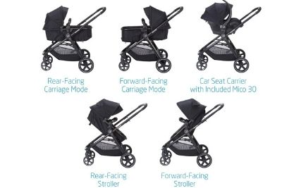 Black baby and travel system switched in different modes