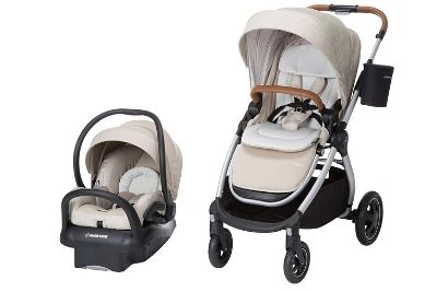 Black and white stroller and car seat