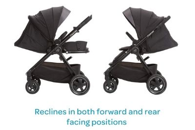 Forward and back facing stroller with canopy