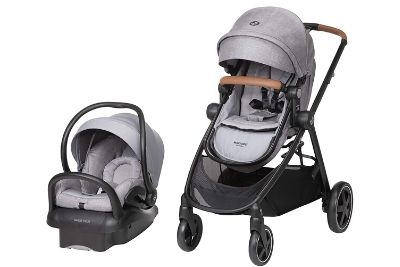 Black and grey travel system for babies and toddlers