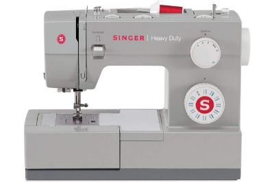 Heavy duty sewing machine with white knobs