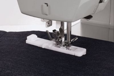 Machine sewing denim