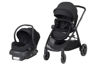 Black travel system with stroller and car seat