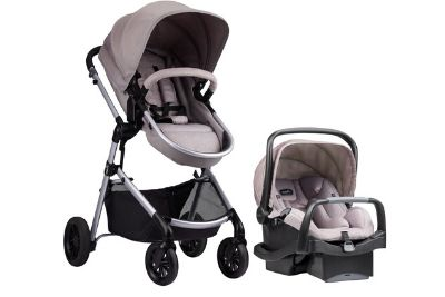 Stroller and car seat with canopy and storage space