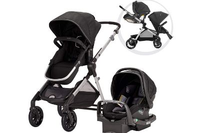 Black stroller with a car seat and baby carriage
