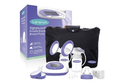 Double breast pump with bottles