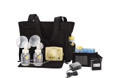 Double breast pump with black bag and milk bottles