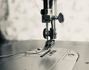 Close up shot of sewing machine