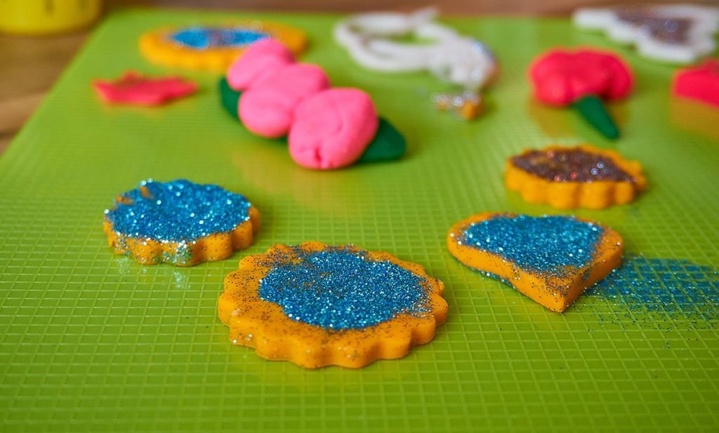 Shaped play doh with glitters