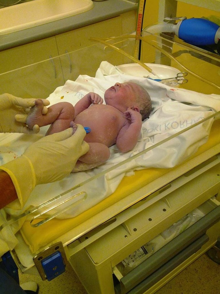 baby first birth in a hospital